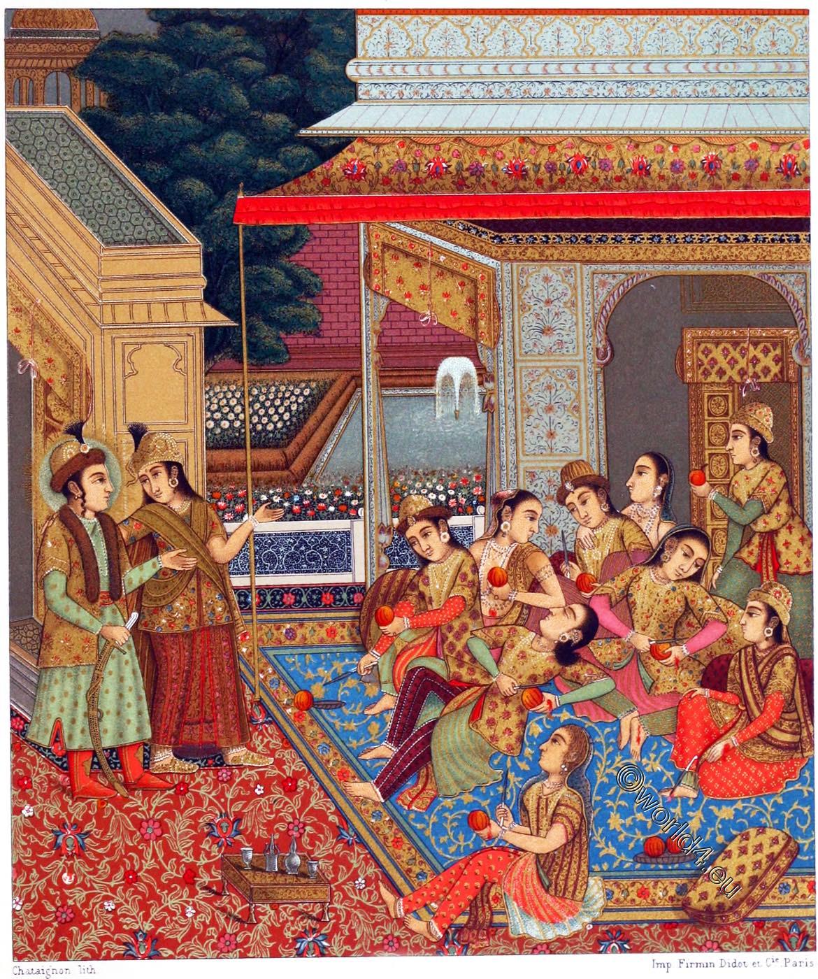 Indian harem, courtyard, Zuleikha, miniature, painting, Mughal, Empire, Auguste Racinet