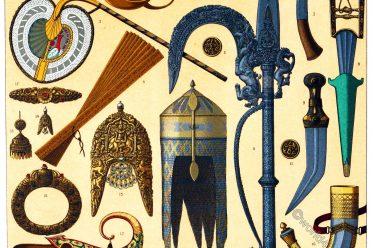 India, Mughal Empire, Auguste Racinet, Weapons, Jewelry, Equipment