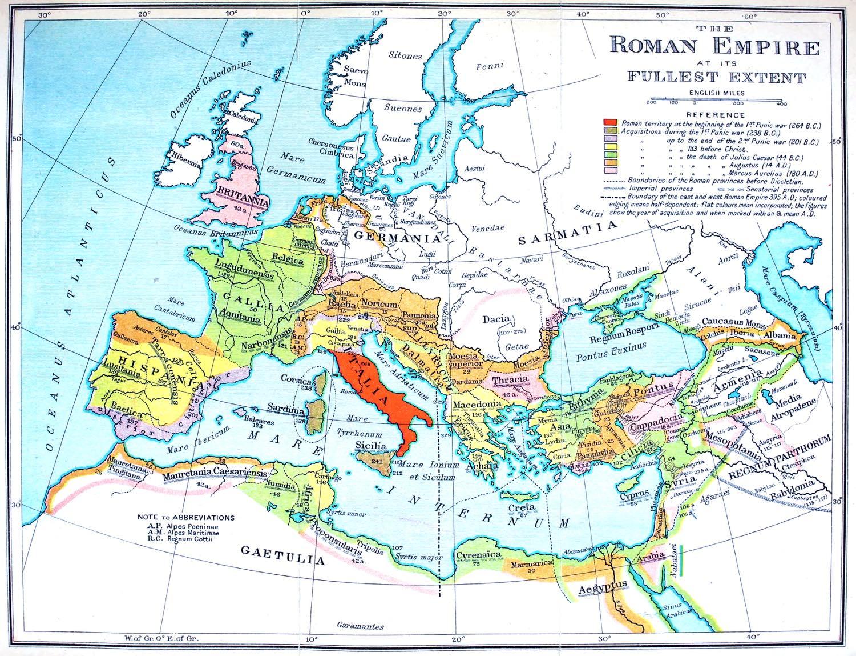 ancient, Rome, map, fullest extent, Roman, Empire,