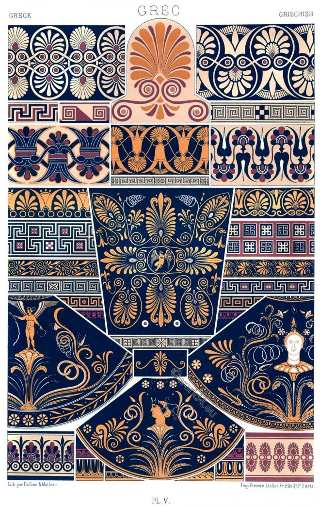 Greek, Art, Meanders, Ancient, Polychromatic ornament, Auguste Racinet