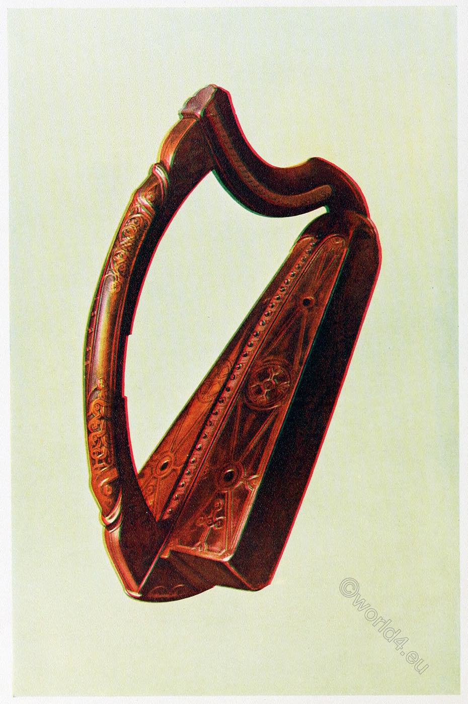 Queen Mary's, harp, Gaelic,  Historic, musical, instruments.