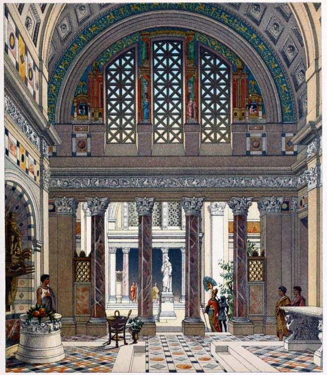 ancient, Rome, Roman, palace, Interior, atrium,