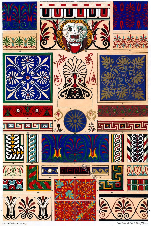 Specimens, Auguste Racinet, Greek, Greco-Roman, Antiquities, Polychromatic, Decoration,