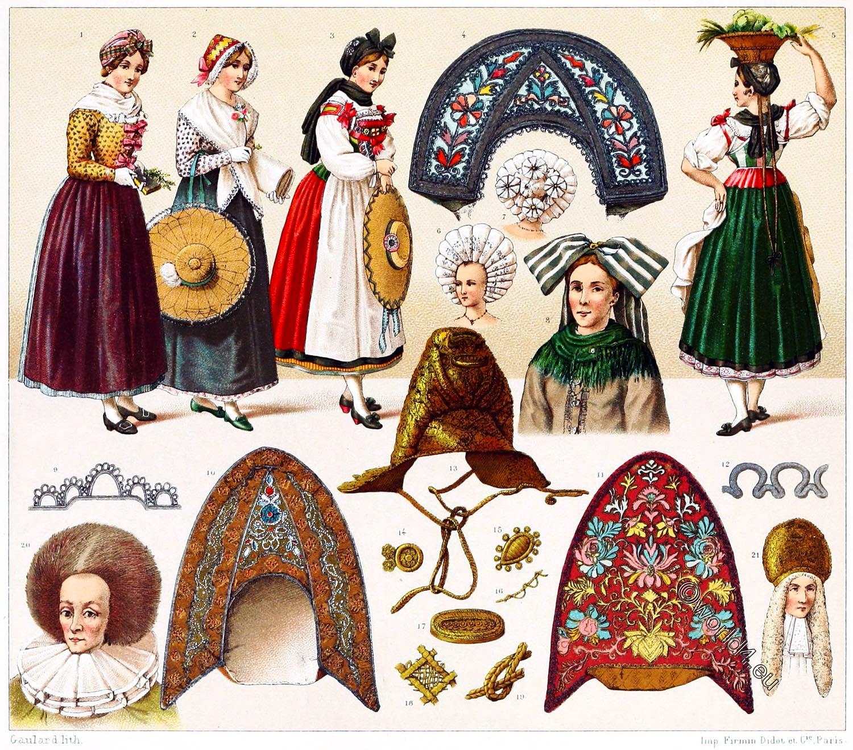 France, national, costumes, Alsace, bendel, Hairdresses, headgear,