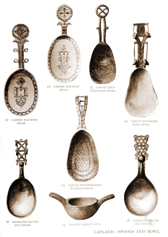 Lapland, bowl, Spoons, Sami, craft, reindeer, horn, carved, lapps,