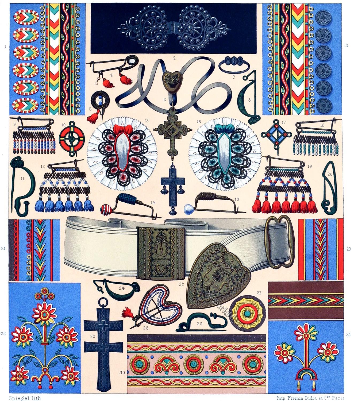 Embroideries, Breton, peasants, Brittany, jewlery,