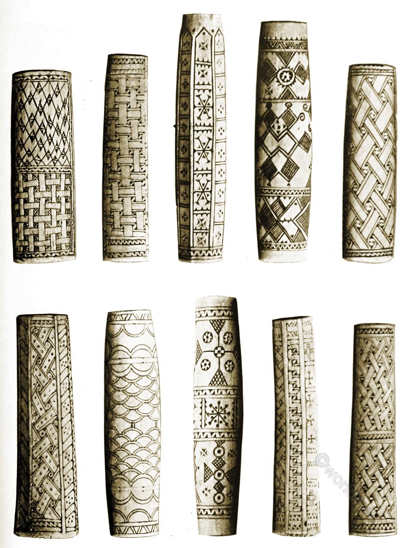 sami, craft, Lapland,. Carved, reindeer, horn, knife, handles,