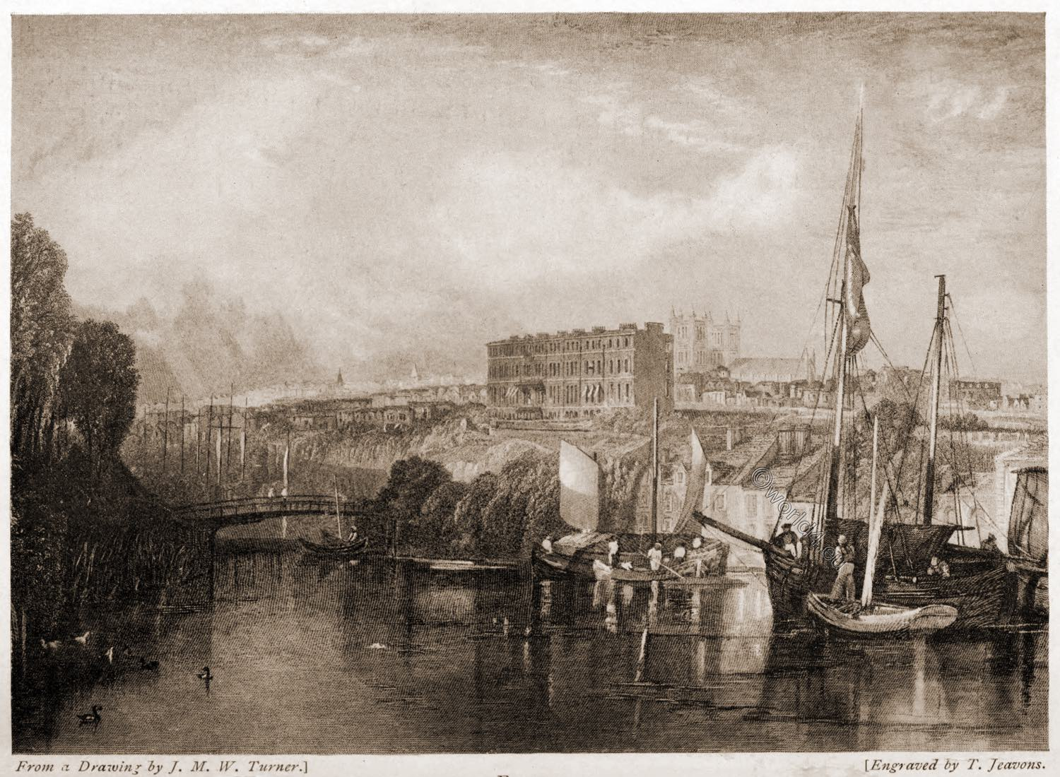 Exeter, Drawing, William Turner,  Engraver, Jeavons