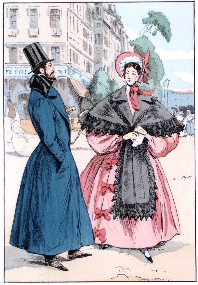Redingote, chapeau claque, Romantic, fashion, Boulevard,