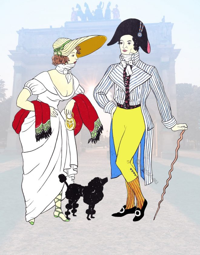 directoire, Incroyables, Merveilleuses, French, revolutionaries, costumes