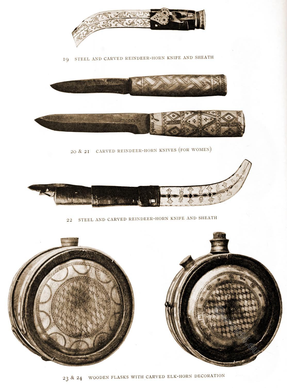 Lapland, Knives, Flasks, Sami, crafts, reindeer, horn, carved,