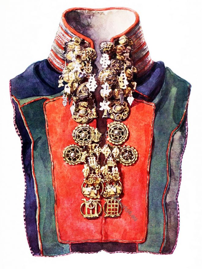 Lapland, sami, costume, embroidered collar,