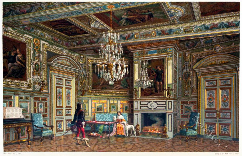 Château, Fontainebleau, chambre, Ovale, Salon