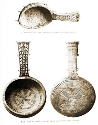 Sami, Lapps, craft, Lapland, Drinking ladles, carved, reindeer, horn, antique,
