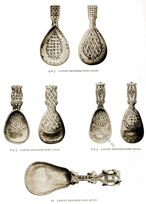 Lapland, Spoons, Sami, craft, reindeer, horn, carved,