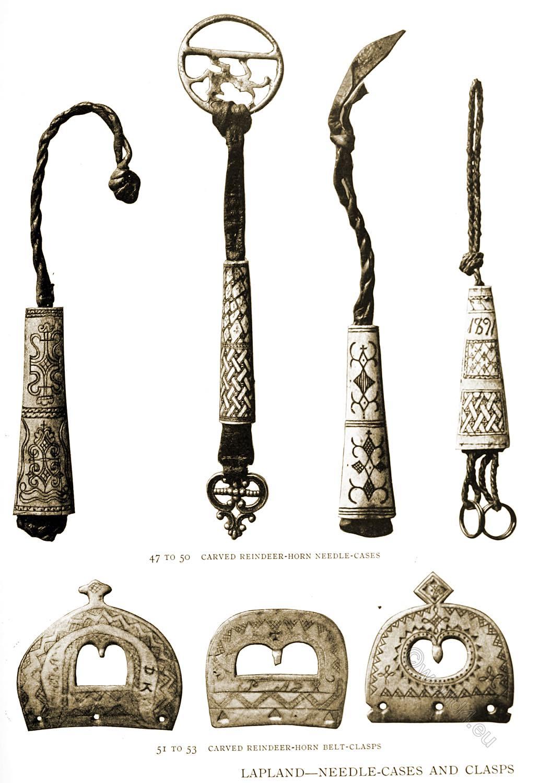 carved, reindeer, horn, needle, cases, sami, lapland, crafts,