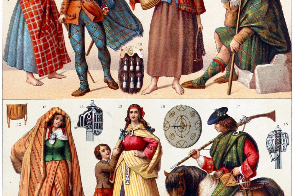 mountain, dwellers, Scotland, national, costumes, weapons, clans,