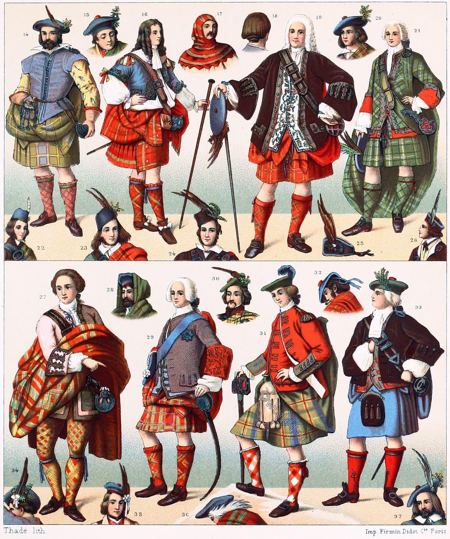 Scotland, Scottish, National, costumes, clans, tartan, plaid, bards, Auguste Racinet