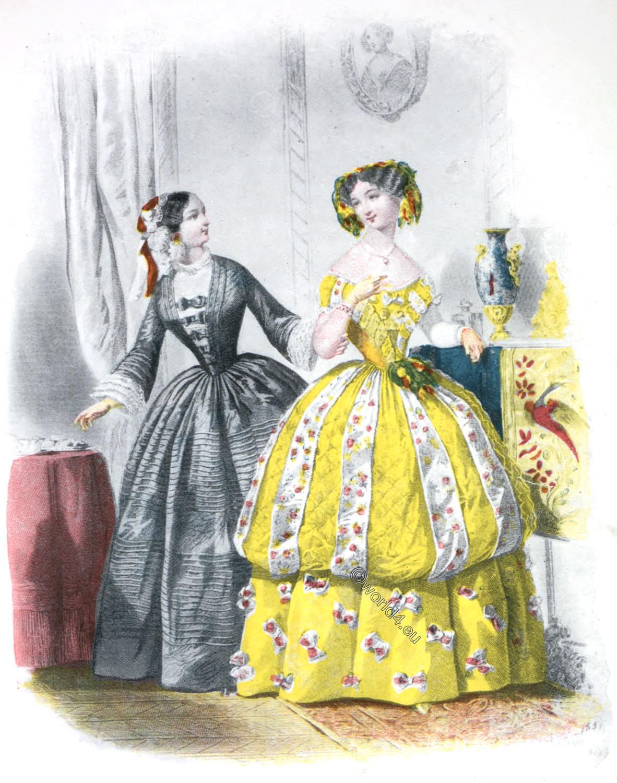 Crinoline, France, Costume, Second Empire, Napoleon III,