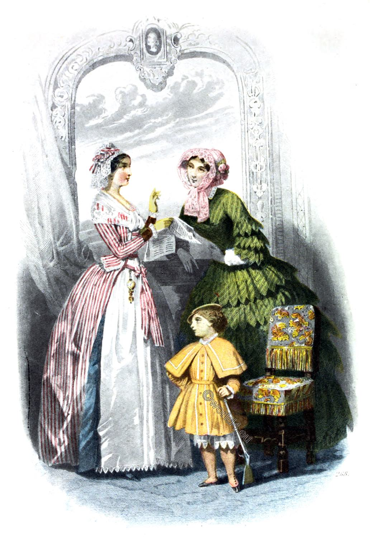 Crinoline, France, Costume, Second Empire, Napoleon III, 1852
