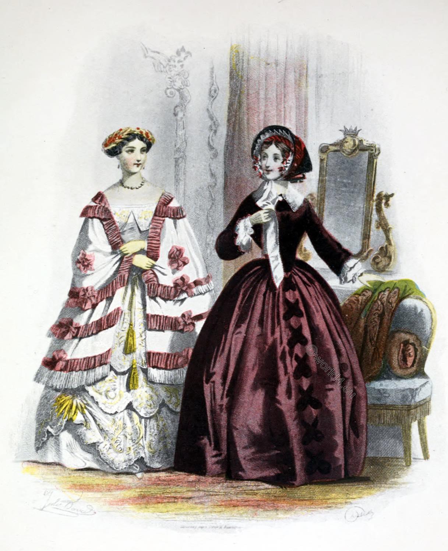 1853, Crinoline, France, Costume, Second Empire, Napoleon III,