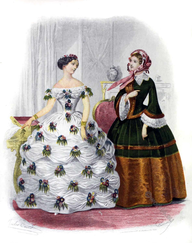 1854, Crinoline, France, Costume, Second Empire, Napoleon III,