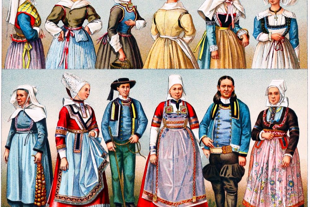 National costumes, Brittany, Département, Finistère, France, French peasant costumes,