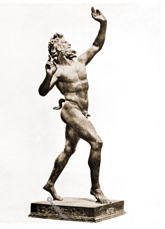 dancing, Satyr, Greek, bronze,