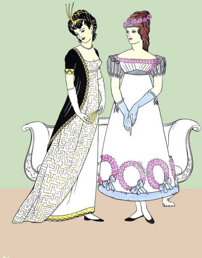 Regency, Empire, party, dresses, wardrobe, evening, costumes,