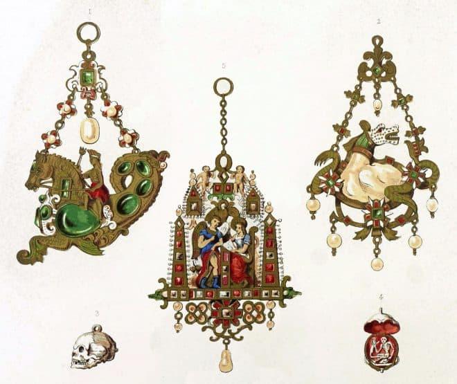 Jewels, renaissance, Sea-horse, Death's Head, skull