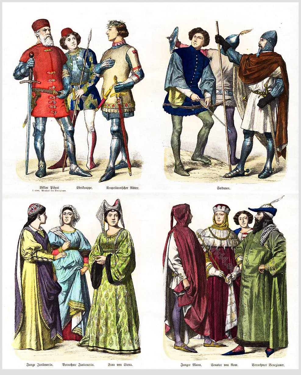 Italy, 14th century, soldiers, nobilty, medieval, costumes, fashion,