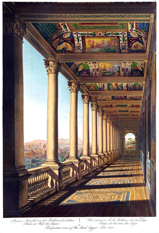 Damaso, Court, Raphael, Vatican, floor gallery