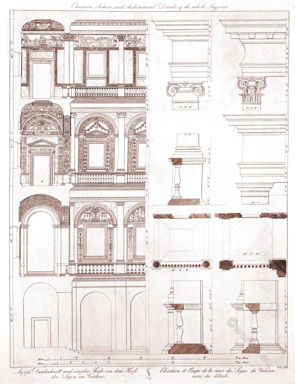 Vatican, Damaso, Elevation, average, courtyard, lodges,