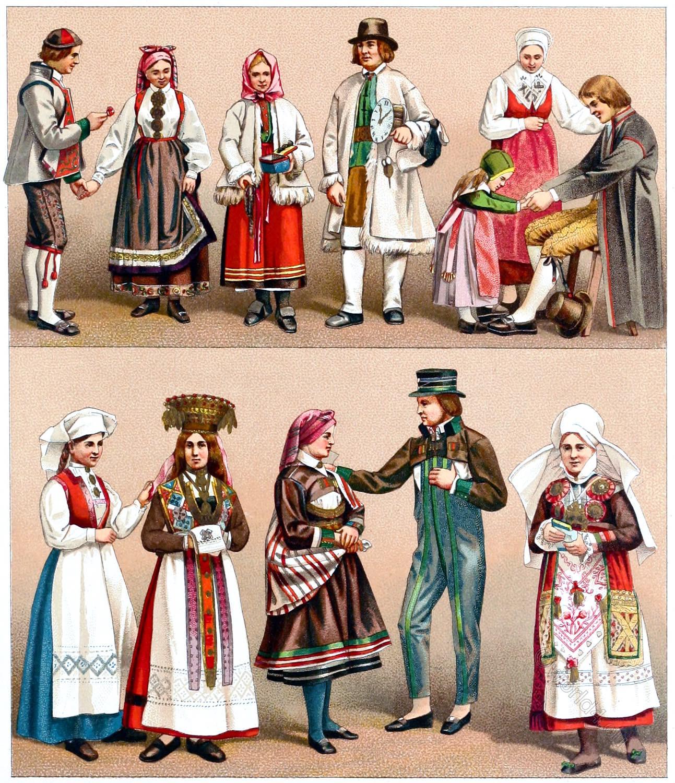 Sweden, Swedish, Costumes, Norwegian, wedding, dress, Auguste Racinet,
