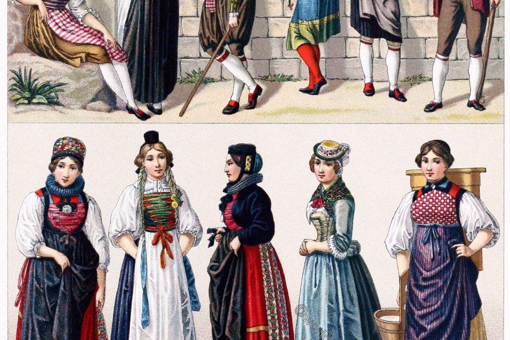 Swiss, folk, costumes,Lucerne, Fribourg, Zug, Bern, Schwyz, Schaffhausen