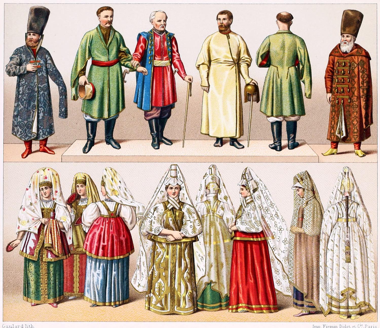 Clothing, Boyars, Cossacks, Russians, Russia, Costumes, Folk Costumes, Auguste Racinet
