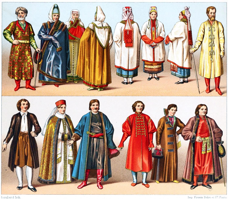 Nobility, Clothing, Boyars, Cossacks, Russians, Russia, Costumes, Folk Costumes, Auguste Racinet
