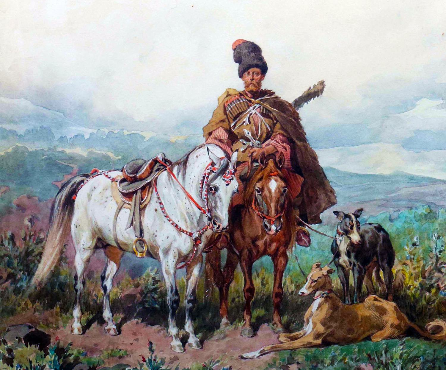 Cossack, horseback, painting, Art,  Juliusz Fortunat Kossak,