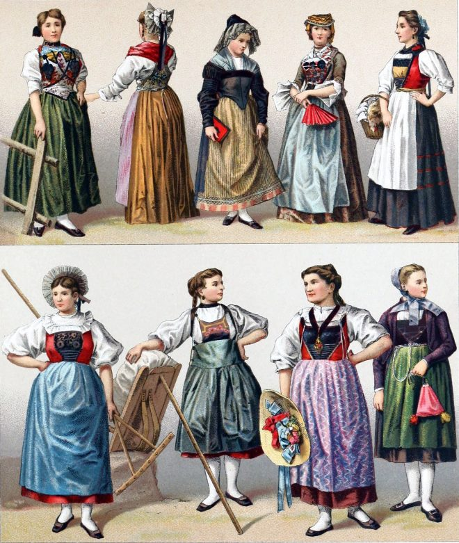 Swiss, cantons, traditional, costumes,