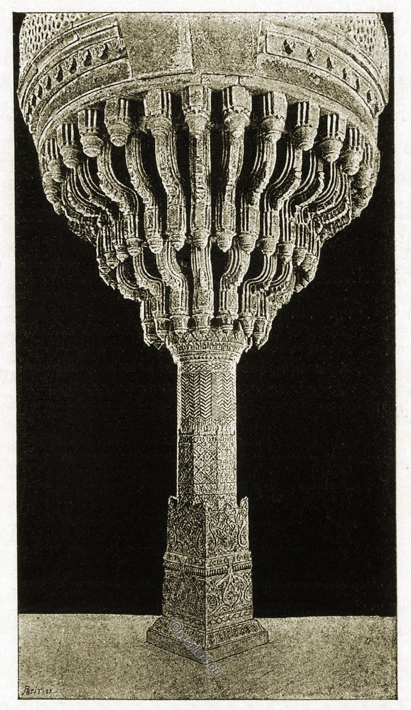 Futtehpore, Akbar, Throne, Carved, granite, pillar, India, Mogul,