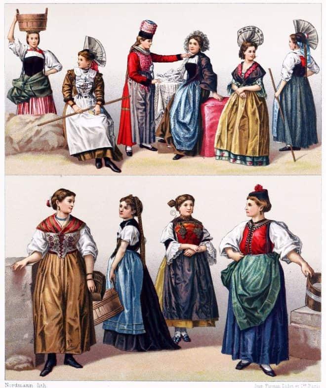 Female, costumes, Switzerland, Swiss, traditional, dress,