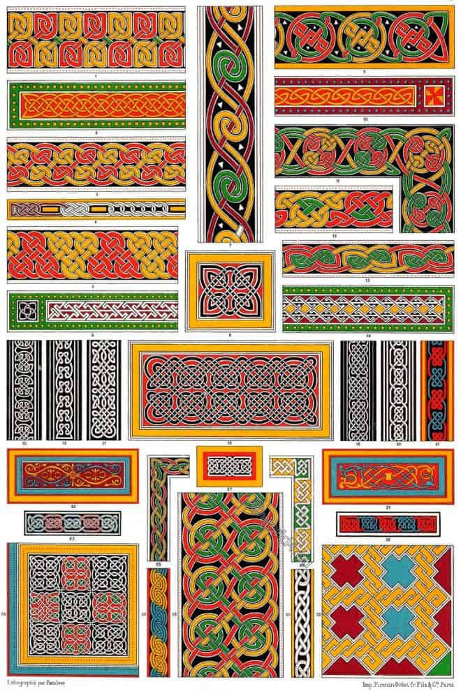 Auguste Racinet, Celtic, Anglo-Saxon Ornaments, Irish, Manuscripts,
