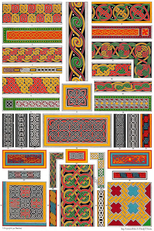 Auguste Racinet, Celtic, Anglo-Saxon Ornaments, Irish, Manuscripts,