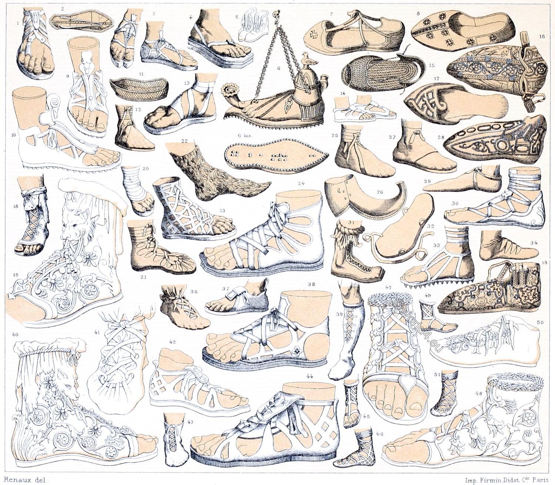 Auguste Racinet, Caliga, Caligae, Crepida, Campagus, Calceus, Lace-up shoe, Solea, Antiquity, Footwear,