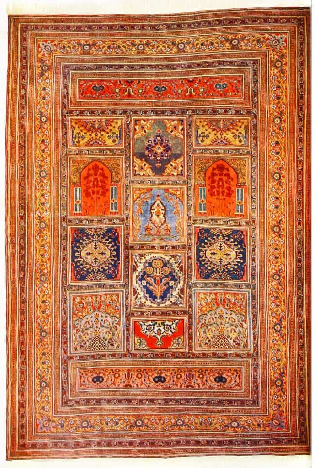 Antique, Tabriz, silk, rug, carpet, mosque,