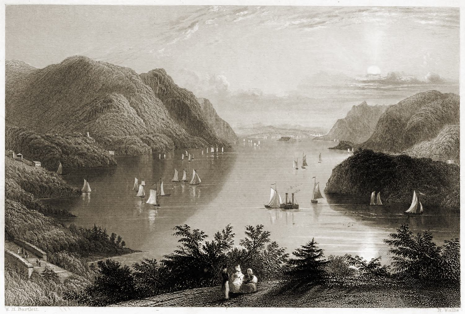 West Point, View, Hudson, American Scenery,