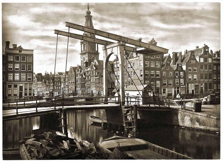 Amsterdam, Dutch, Netherland, city, drawbridge,barges, architecture