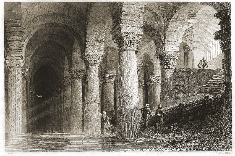 Yerebatan, Serail, Subterranean, Thomas Allom, Palace, Constantinople