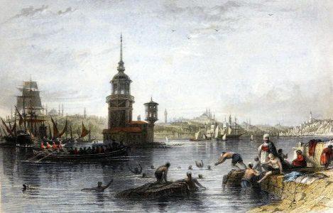 Kız Kulesi, Thomas Allom, Maiden's, Leander, Tower, Istanbul, Bosporus,