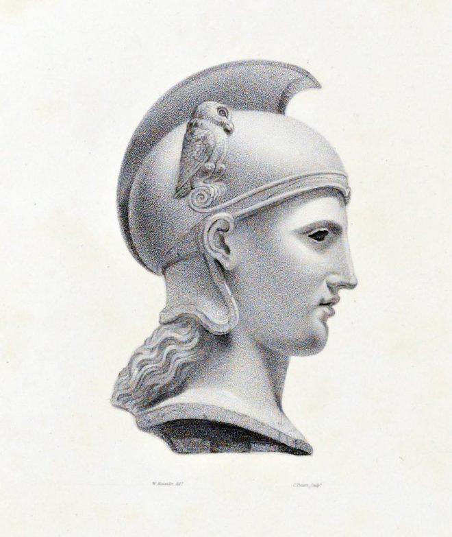 Head, Minerva, Ancient, Greek, sculptur,